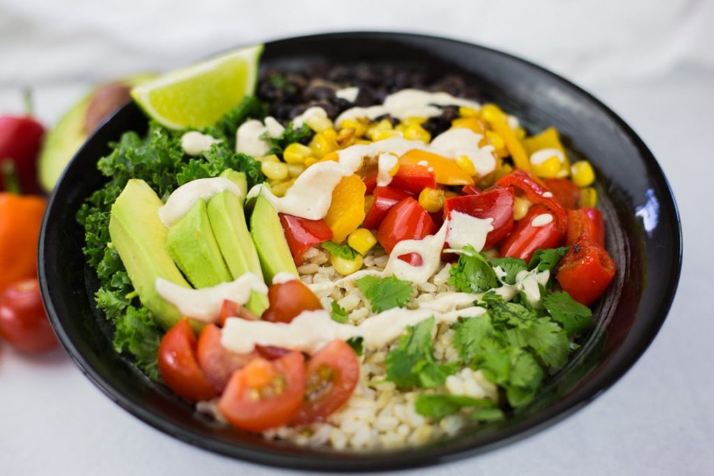 Rice burrito bowl with soya salad